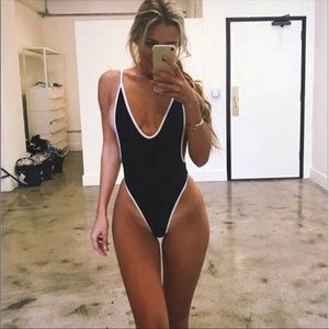 Tops - Black and white deep cut body suit swim backless